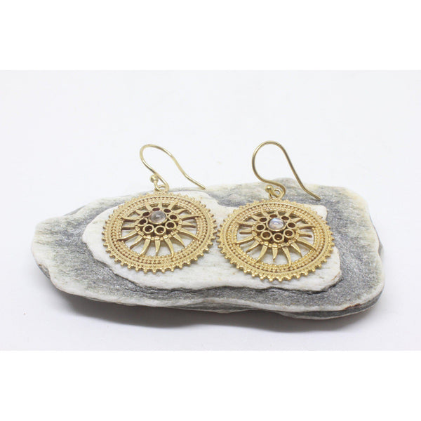 Maeve Brass Earrings-JEWELLERY / EARRINGS-Gopal Brass Man (IND)-Moonstone-The Outpost NZ