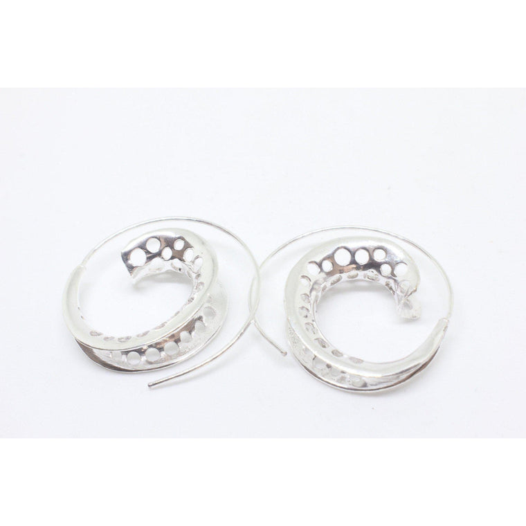 Roller Small Silver Plated Earrings