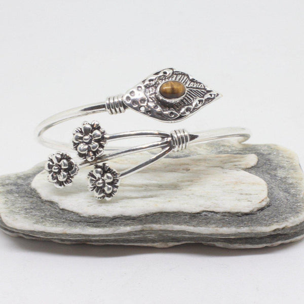 Sprig Stone Silver Plated Bangle-JEWELLERY / BANGLE-Gopal Brass Man (IND)-Tigers Eye-The Outpost NZ