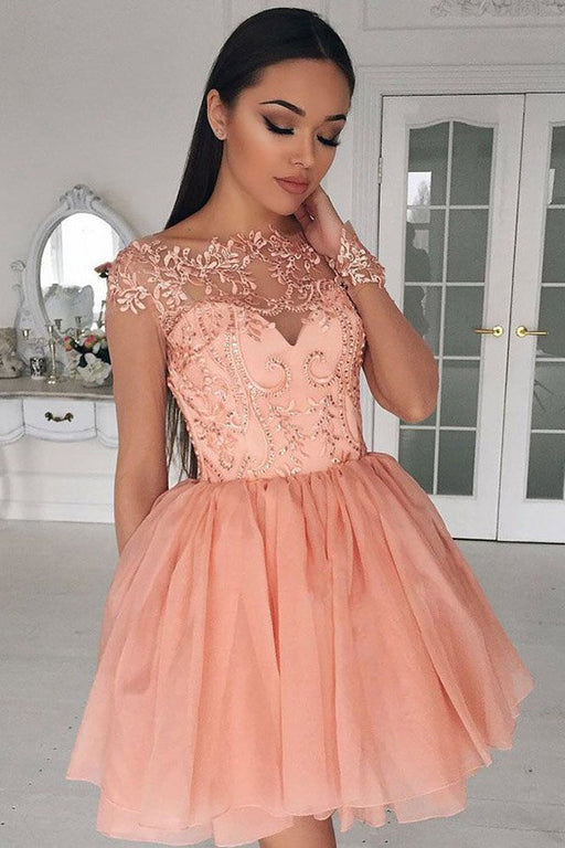 A-Line Crew Cap Sleeves Short Coral Chiffon Homecoming Dress with Appliques