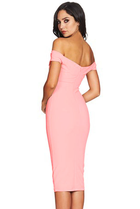 Z| Chicloth Pink Off Shoulder Twist Front Midi Dress-Chicloth