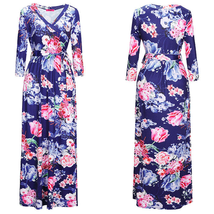 A| Chicloth Milk Silk & Polyester One-piece Dress Printed Floral Dress-casual dresses-Chicloth