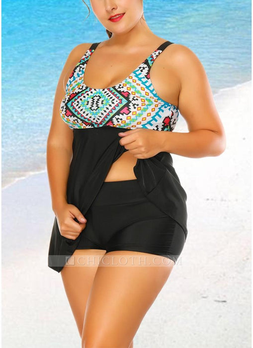 C| Chicloth Print Padded O Neck Sleeveless Two Pieces-polyester,nylon,plussizeswimsuit-Chicloth