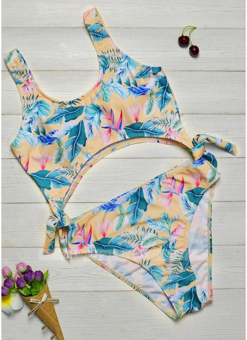 C| Chicloth Printed Padded Hollow Out Monokini Bathing Suit-chinlon,polyester,onepieceswimsuit-Chicloth