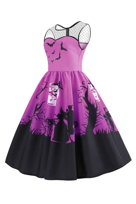 B| Chicloth Yoke Halloween Moon Bat Print Dress-party&event dresses-Chicloth