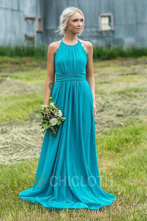 Chicloth A Line Long Maid Of Honor Bridesmaid Dresses