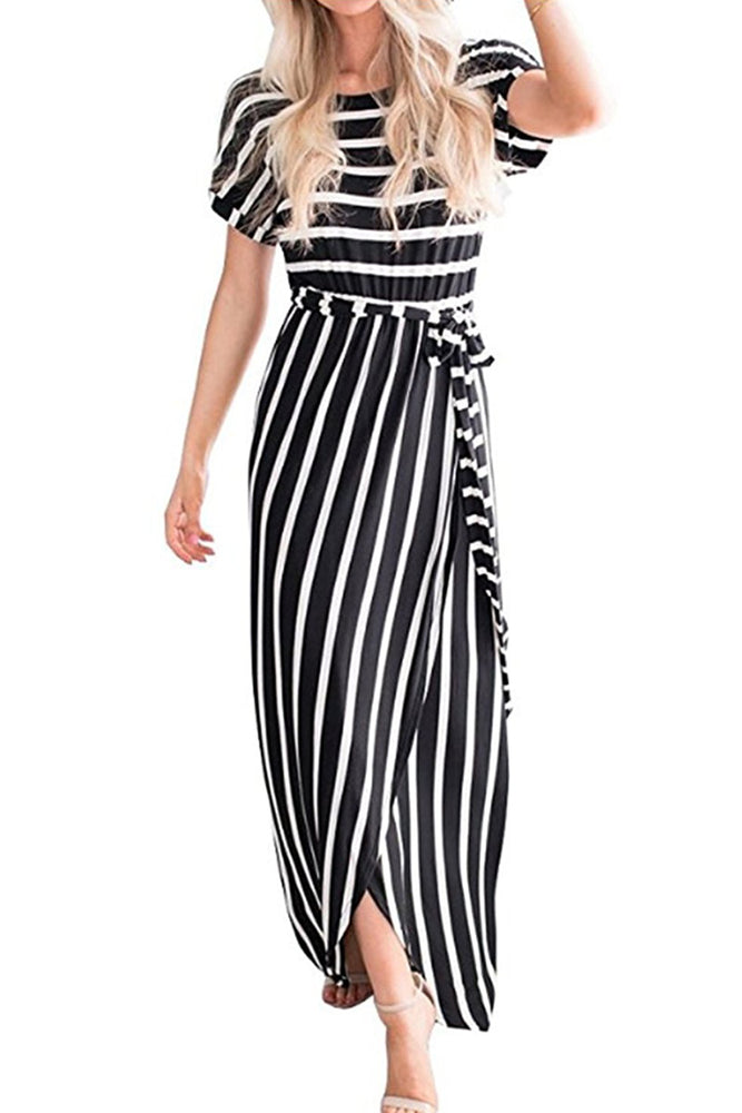 Z| Chicloth Black White Striped Drape Slit Maxi Dress with Belt-Chicloth