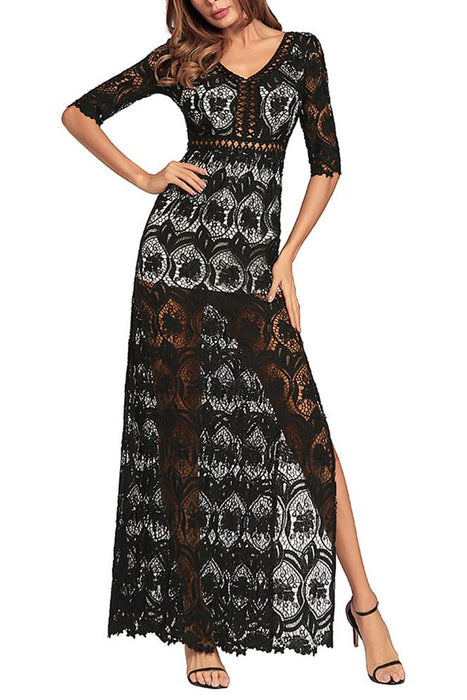 C| Chicloth Hollow Out Crochet V Neck Half Sleeve Thigh Slit Maxi Dress-Chicloth
