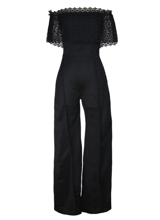 Chicloth Sexy Women Jumpsuit Off the Shoulder Crochet Lace Elegant Casual Long Rompers-Chicloth