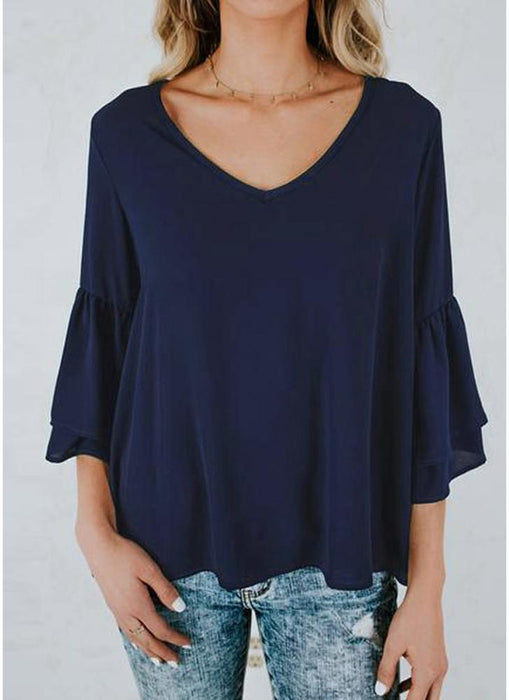 A| Chicloth Women Blouse Shirt Top V-Neck Ruffles Flare Sleeve Solid Loose Casual Top-Chicloth