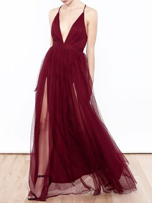 Chicloth A-Line V-Neck Floor-Length Tulle Sleeveless With Ruffles Dresses-Prom Dresses-Chicloth