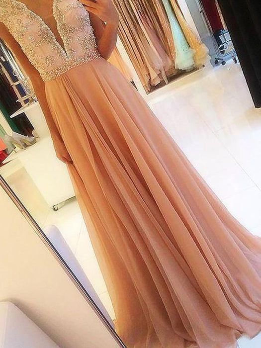 B| Chicloth A-Line Sleeveless V-Neck Chiffon With Beading Sweep/Brush Train Dresses-Prom Dresses-Chicloth