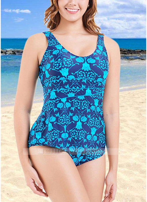 C| Chicloth Plus Size Print O Neck Sleeveless Backless One Piece Swimsuit-nylon,polyester,plussizeswimsuit-Chicloth