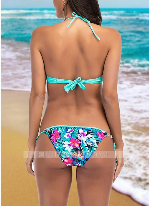 C| Chicloth Women Floral Print Frill Bikini Set Beach Swimsuit Two Piece Swimwear-polyester,nylon,bikinis-Chicloth