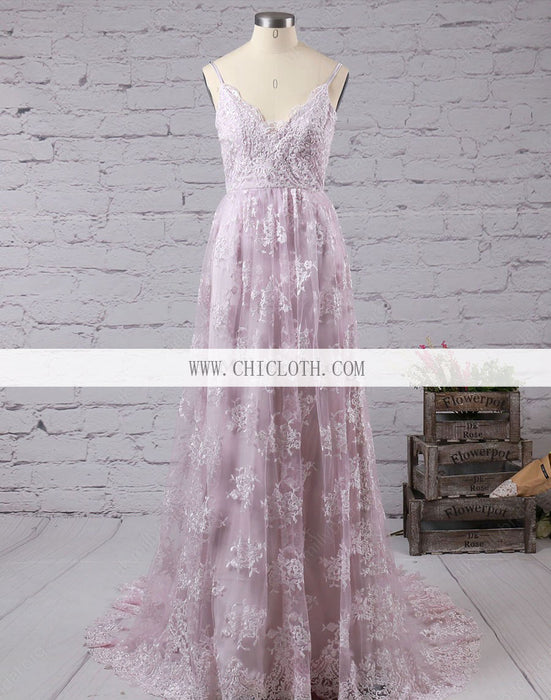 Chicloth A-Line Lace V-Neck Sleeveless Sweep/Brush Train With Applique Dresses