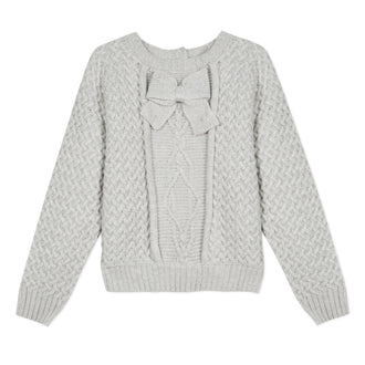 Lili School Heather Grey Cable Sweater