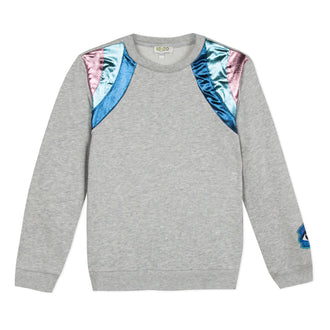 Super Kenzo Grey Pullover With Mettalic Shoulders
