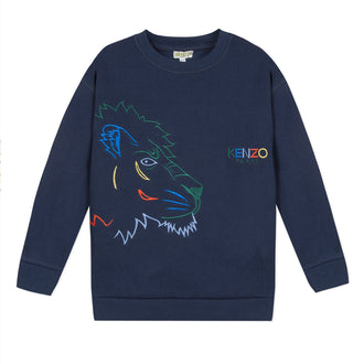Crazy Jungle Navy Colored Tiger Pullover