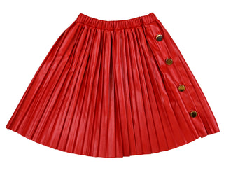 Red Pleated Eco Leather Skirt