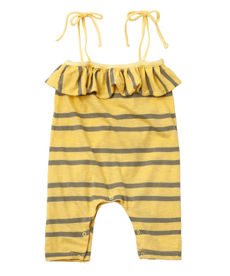 Yellow Stripe Ruffle Romper