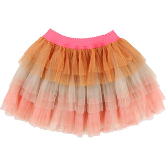 Rose Orange Multi Layered Tulle Skirt