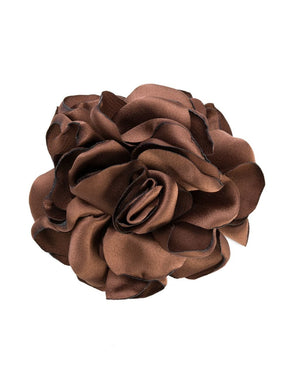 Eva Coffee Silk Flower Brooch