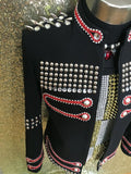 Fashion Black Men Rhinestone Rivets Buttons Slim Casual Jacket Male DJ Singer Stage Performance Prom Punk Costumes Outerwear