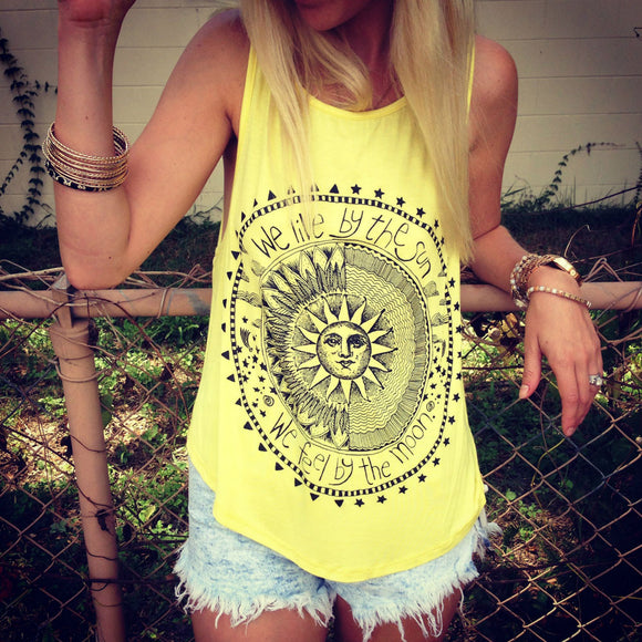 Good Vibes Sun and Moon Women's Casual Tank Tops