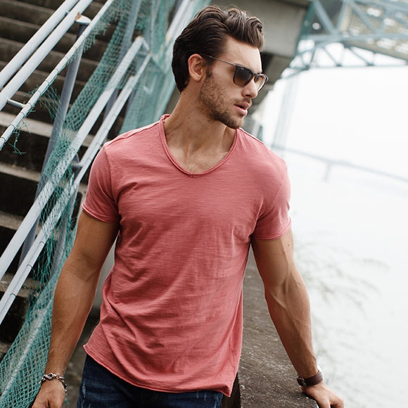 Men's V-neck Slim Fit Cotton T-shirt (7 Colors)