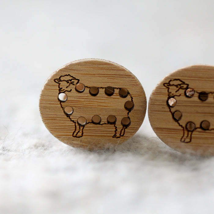 Set of 2 Stitchable Sheep Buttons - Washable Bamboo