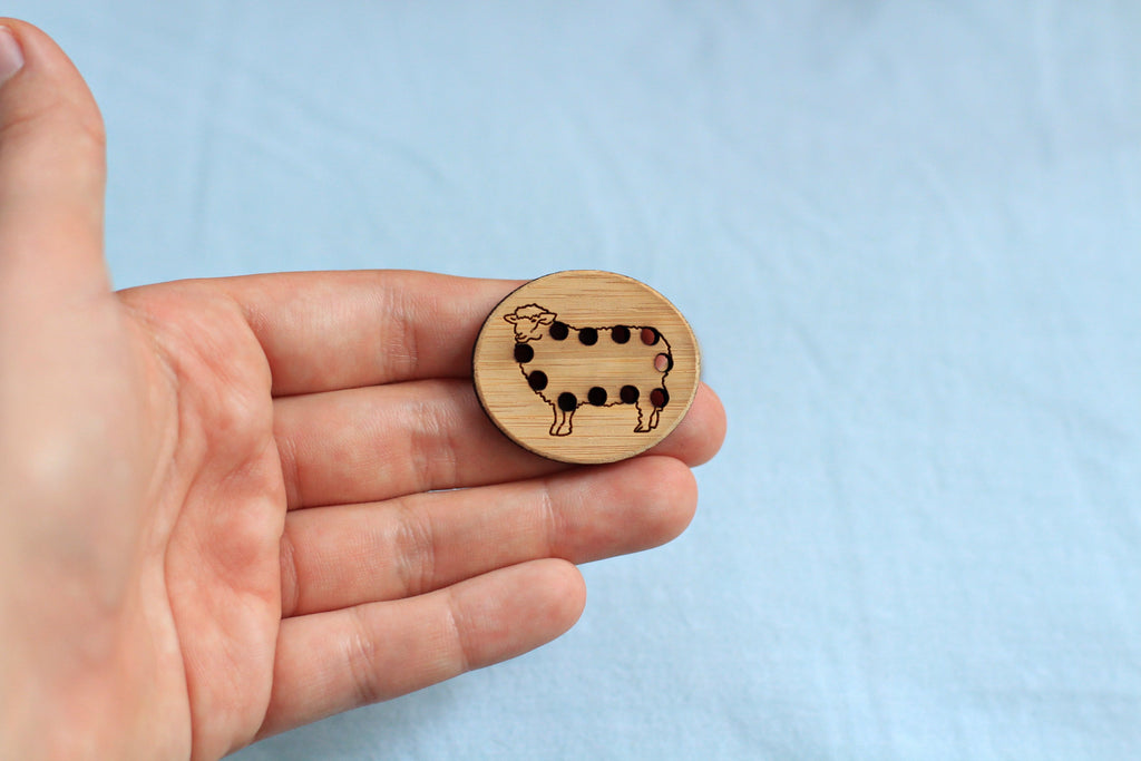Stitchable Sheep Button - Washable Bamboo