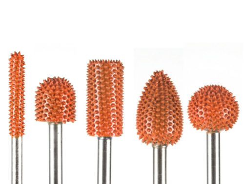 5 PC Saburr Tooth Carbide Burrs 1/4 inch shaft Orange 14C14 14BN58 14C34 14F12 14S58