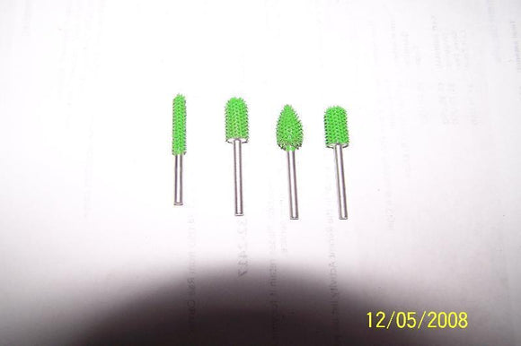 4 PC Saburr Tooth Carbide Burrs 1/8 inch shaft Green 18BN8 18BN14 18C14 18F38
