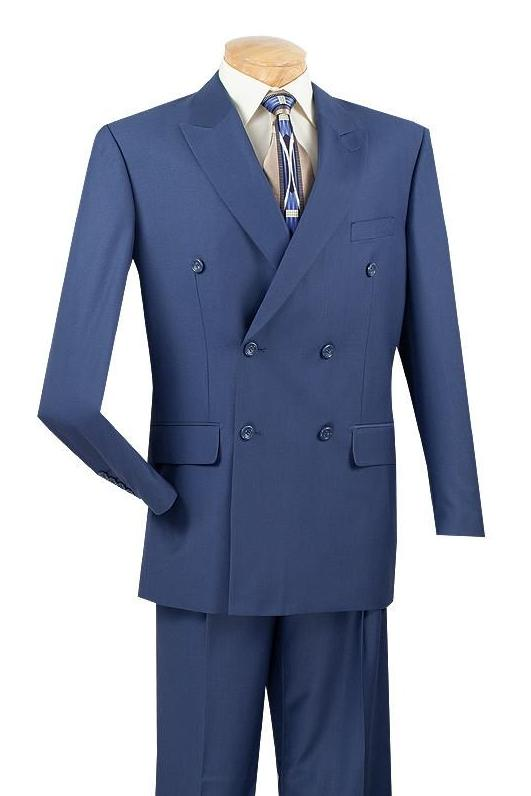 1940s Zoot Suit History & Buy Modern Zoot Suits Ramses Collection - Double Breasted 2 Piece Suit Regular Fit in Blue - 40 Short - 34 Waist  Blue $399.00 AT vintagedancer.com