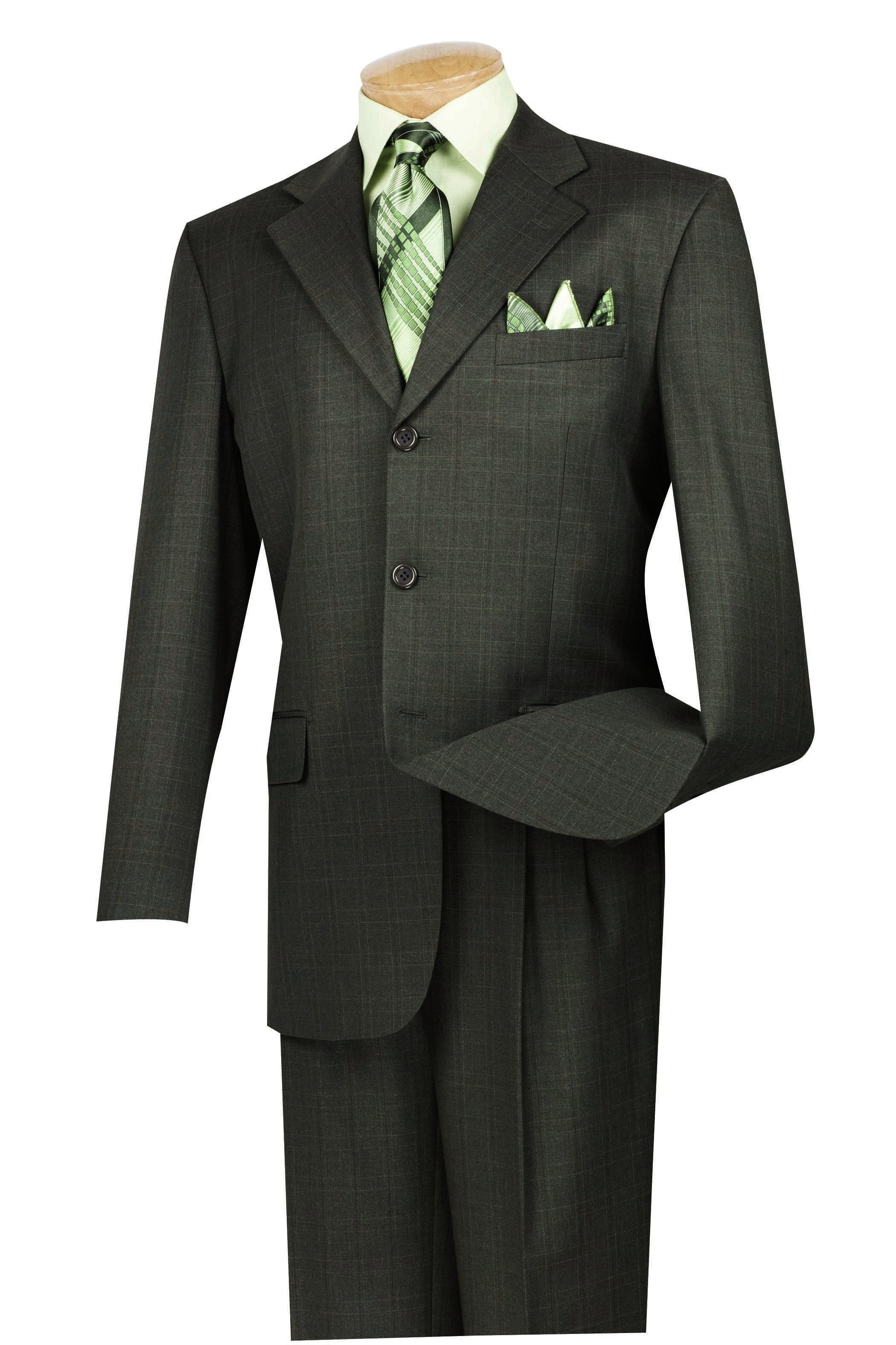 1940s Zoot Suit History & Buy Modern Zoot Suits Mens Regular Fit Windowpane Suit 2 Piece 3 Button in Dark Olive - 38 Short - 32 Waist  Olive $356.00 AT vintagedancer.com