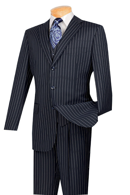 1940s Zoot Suit History & Buy Modern Zoot Suits Portofino Collection - Regular Fit 3 Piece 3 Button Banker Stripe in Dark Navy - 46 Short - 40 Waist  Dark Navy $349.99 AT vintagedancer.com