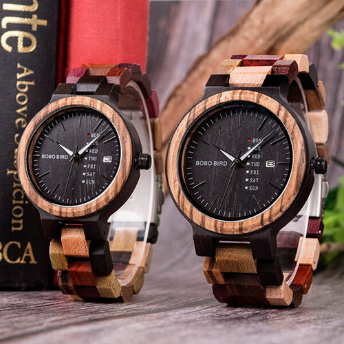 Wooden Unique Date and Day Display Watch