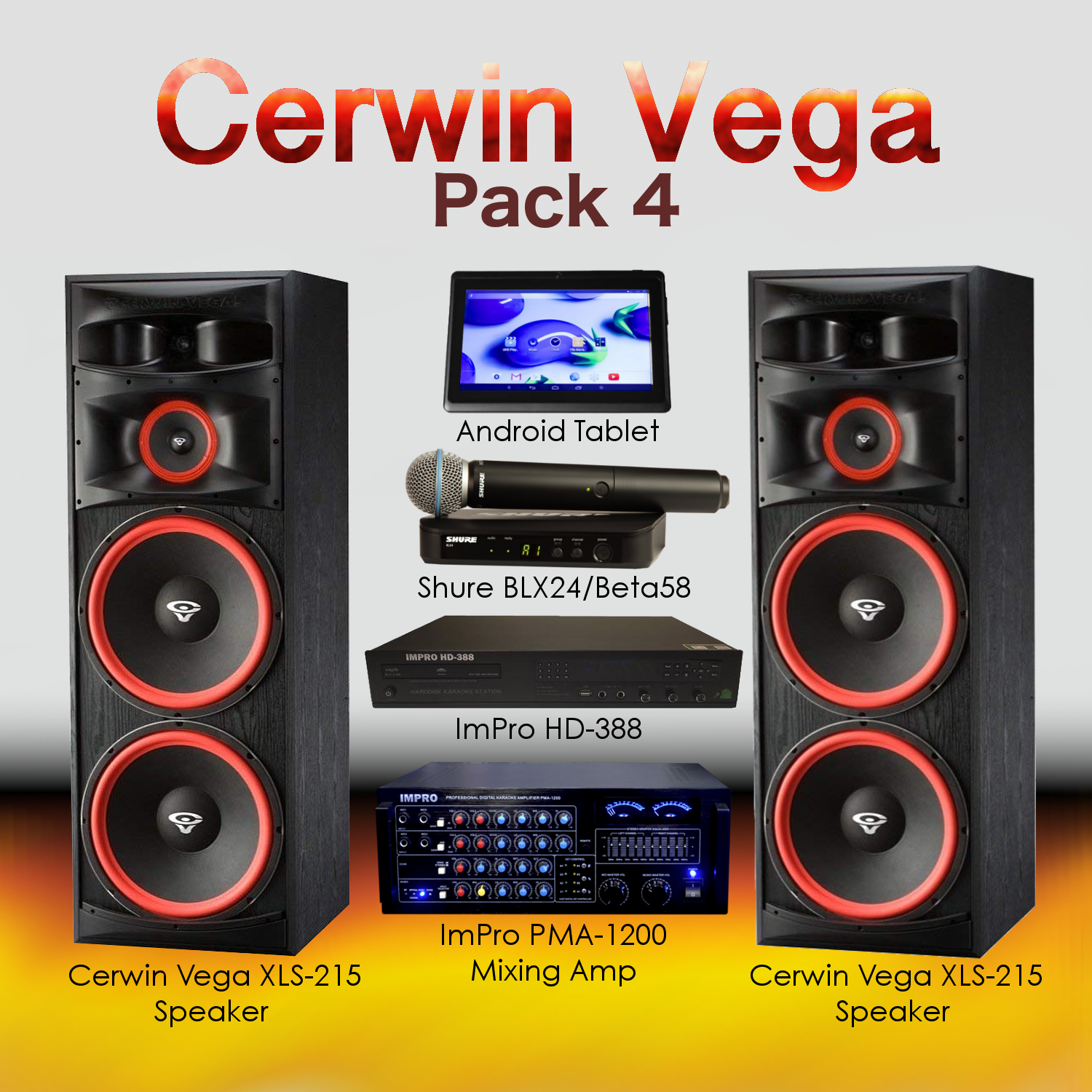 Cerwin Vega Pack #4: Combination of HD-388(5TB), Android Tablet, PMA-1200, XLS-215, BLX24/Beta58