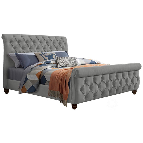 Ashley Fully Upholstered Bed - Grey