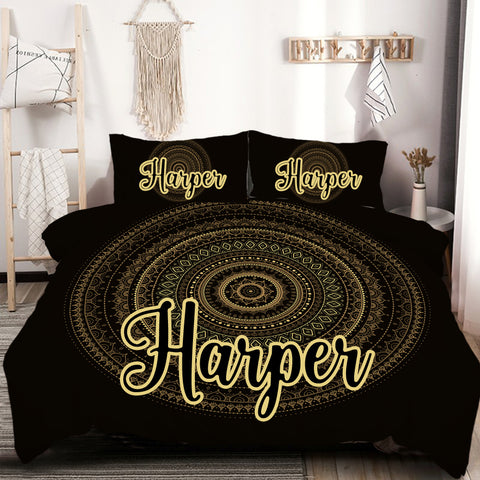 Customised Black & Gold Mandala Quilt Cover Set