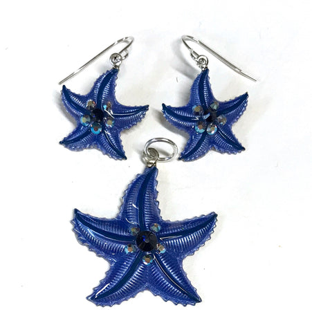 Starfish Earrings and Pendant Set Denim Blue
