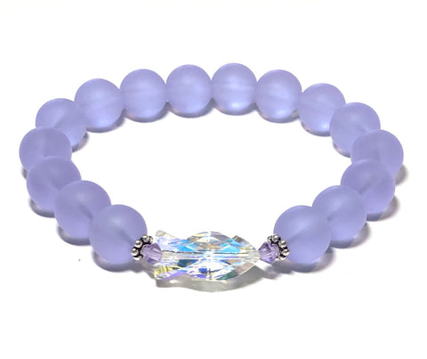 Crystal Fish and Violet Matte Glass Stretch Bracelet