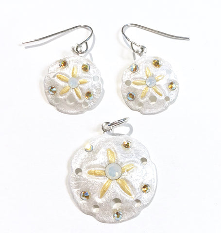 Sand Dollar Earrings and Pendant Set - Hurstjewelry
