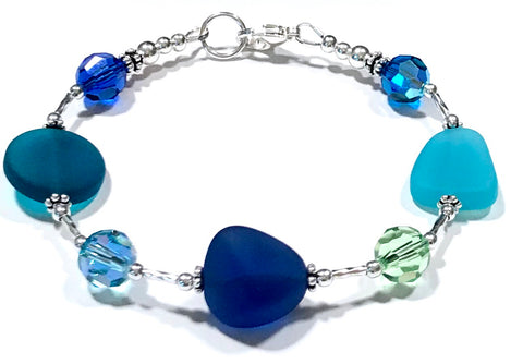 Coastal Inspired Glass and Crystal Sterling Silver Bracelet