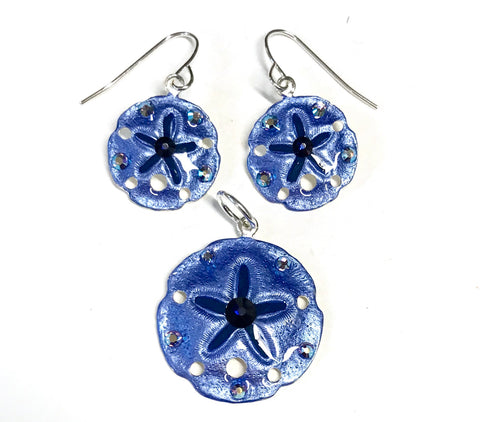 Sand Dollar Earrings and Pendant Set Denim Blue
