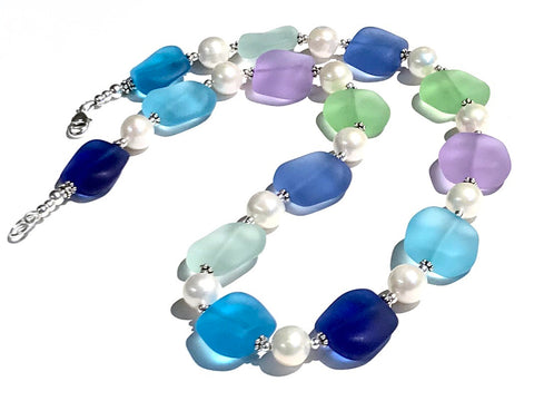 Coastal Inspired Glass and Pearl Necklace