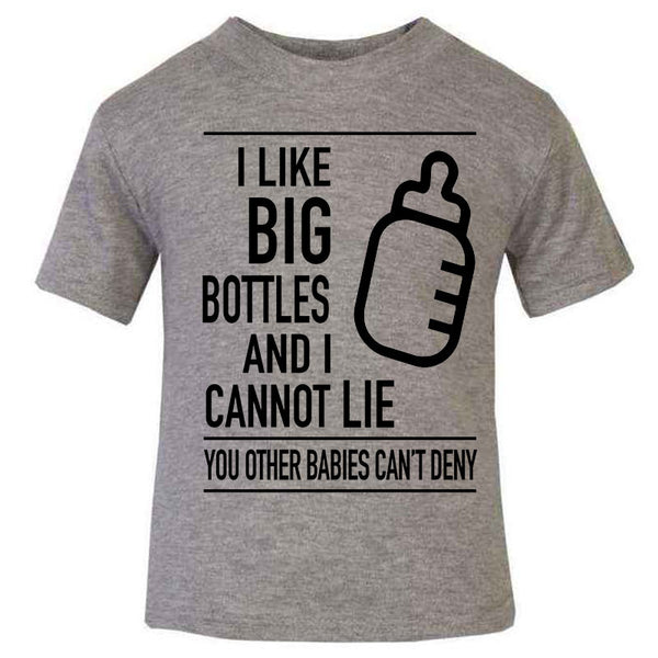 Hipster Baby Cute Funny Unique Kids T-shirt, Perfect new baby gift, I like big bottles and I cannot lie, I like Big butts and I cannot Lie, Grey baby Kids T-shirt