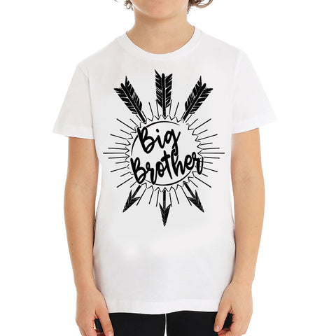 Hipster kids T-shirt, Big Brother Unique baby gift, White Kids children T-shirt