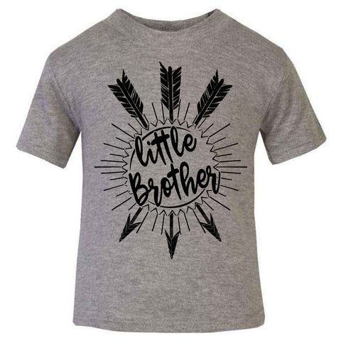 Hipster kids children baby T-shirt, Little Brother Unique baby gift, Grey Kids T-shirt