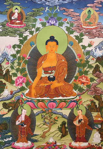 Shakyamuni Buddha In His Heavenly Adobe Thangka 82x58cm NTH67